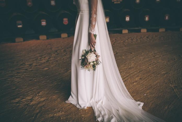 Foto del detalle del vestido de boda